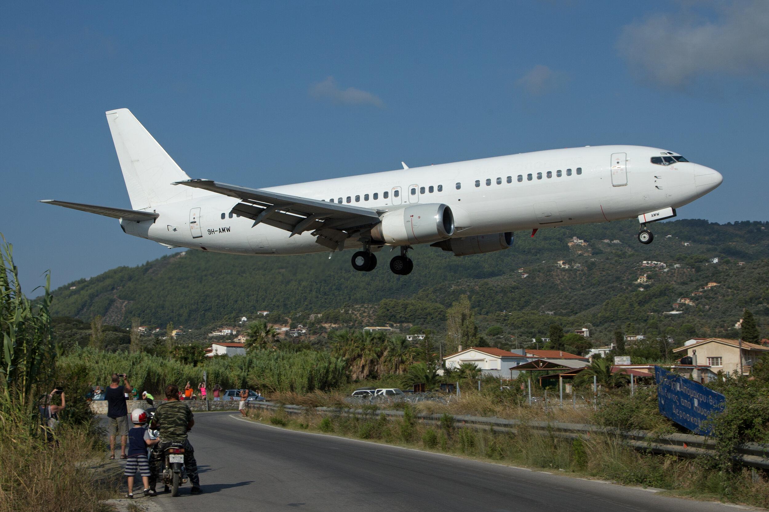 Air Horizont B737-400 9H-AMW on very short final to Runway 01 at Skiathos. Peter H