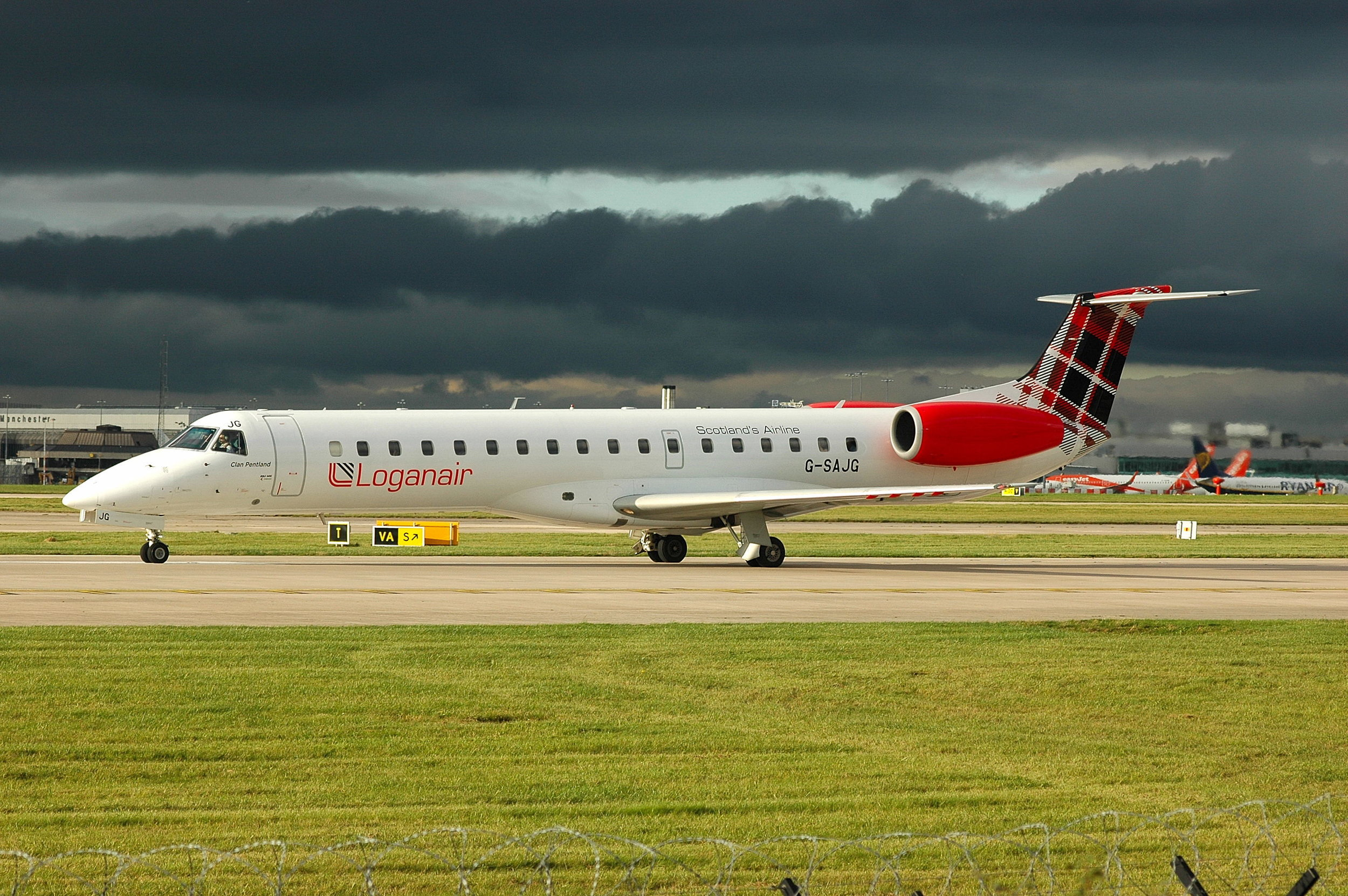 Paul Rowland was in the right place at the right time to capture Loganair E145 G-SAJG in great light and dramatic cloud on Friday 4th October.