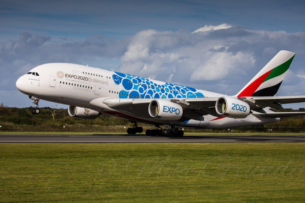 A superb photo from Mike Grundy of Emirates A380 A6-EOT (Expo 2020 Blue) departing Manchester on 8th October.