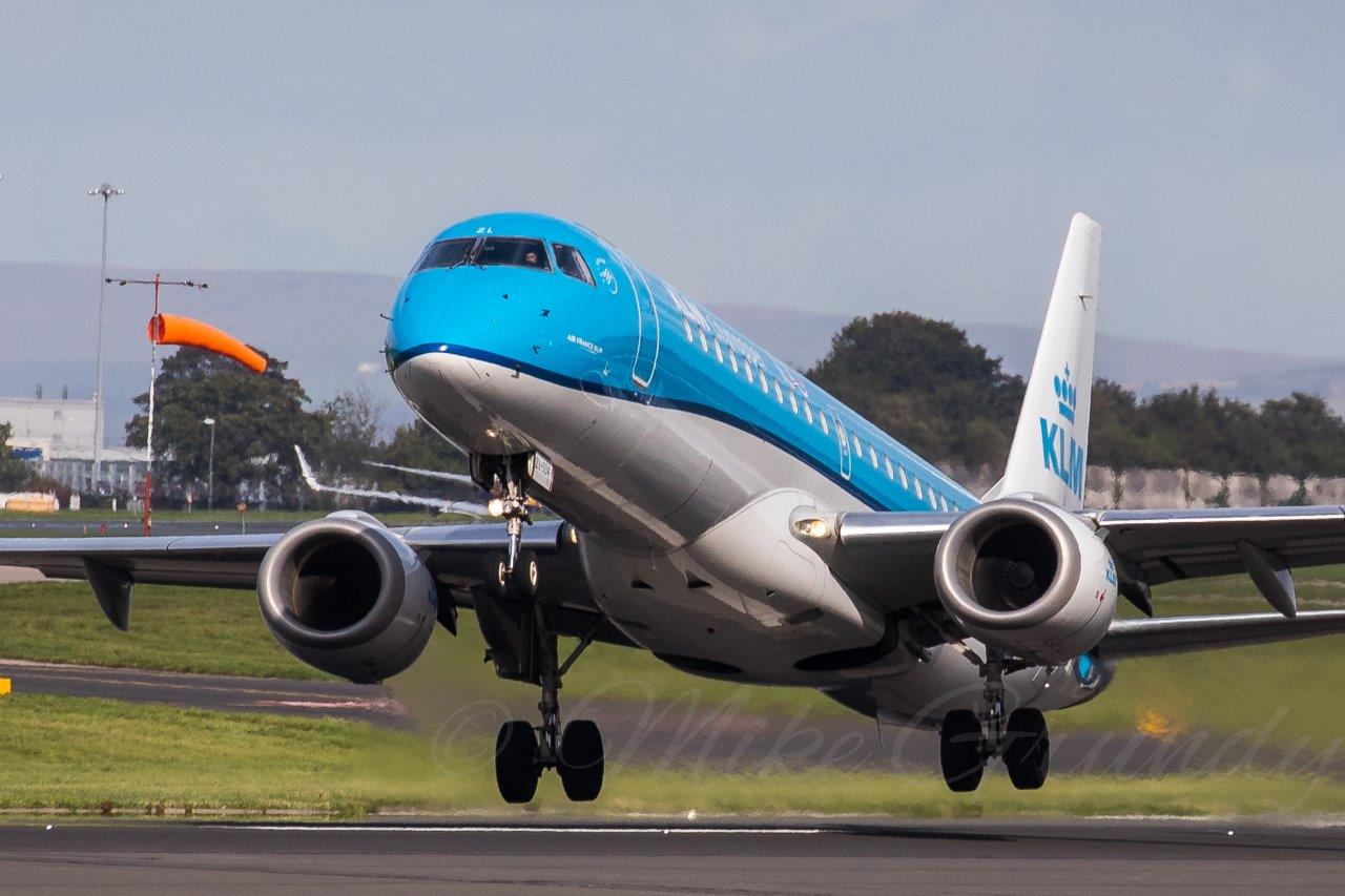 Many thanks to Mike Grundy for sharing this action shot of a KLM E190 departing on Runway 23 Left - 8th October 2019.