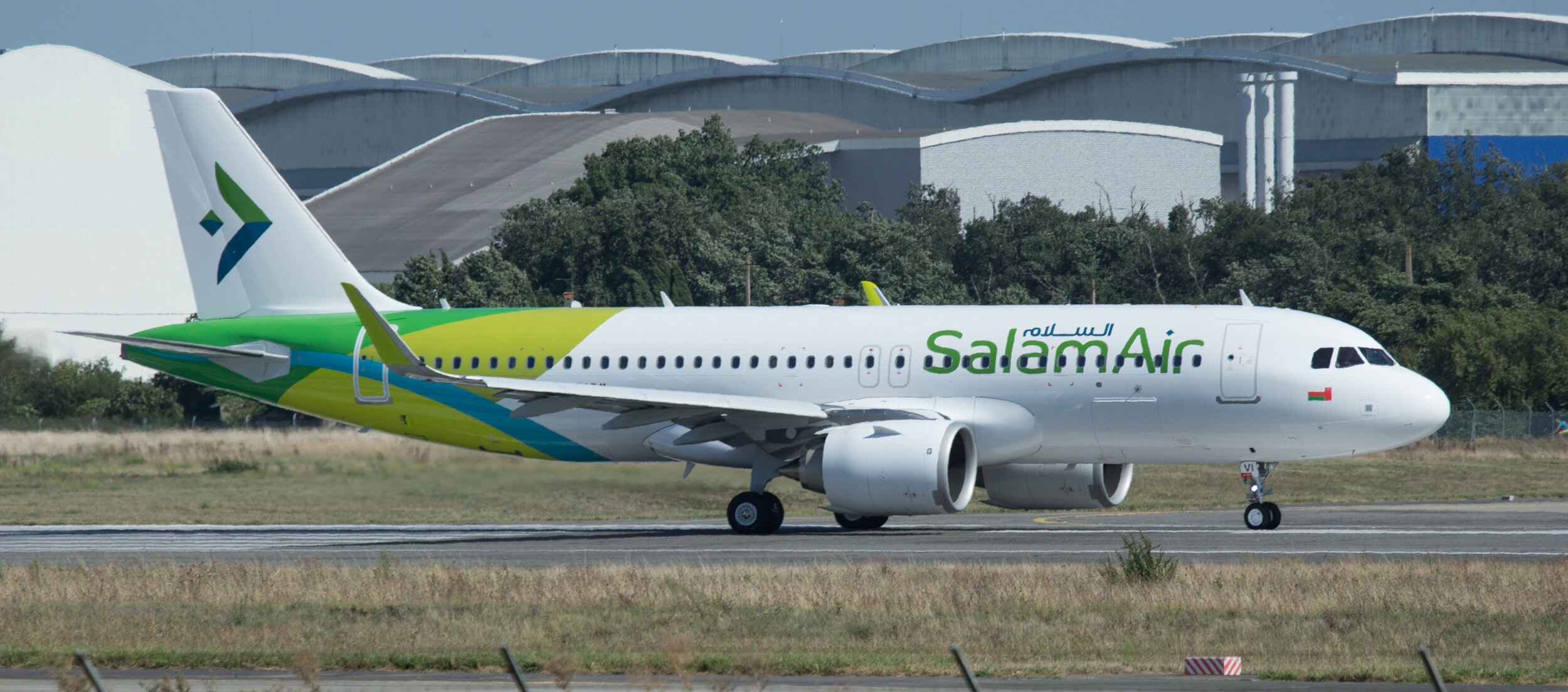 Salam Air A320N F-WWDM / A4O-AVI at Toulouse 20th September 2019. Photo: Peter Hampson.