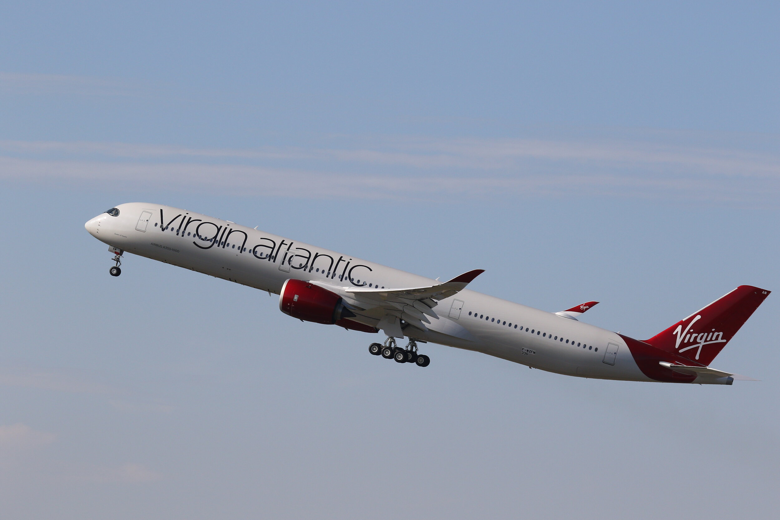 Virgin Atlantic A350-1000 F-WZFM / G-VJAM departs on a test flight from Toulouse on 20th September. Photo: Maurice Kime