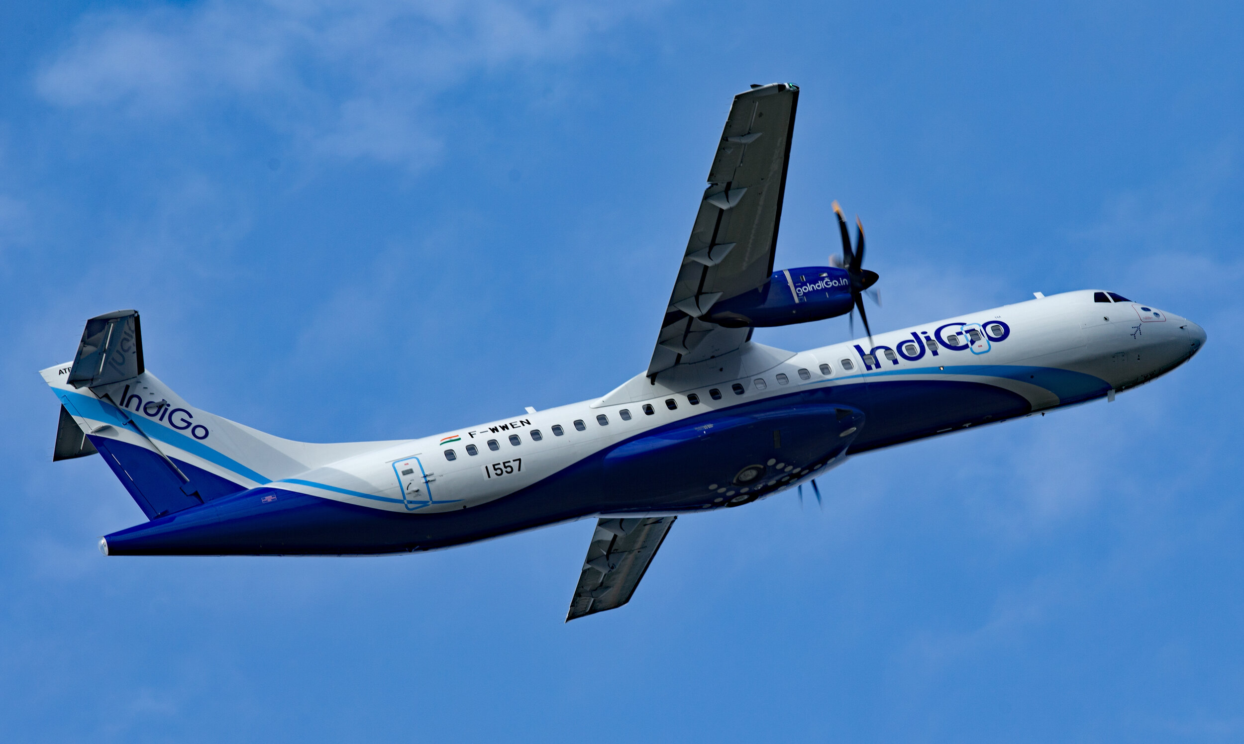 IndiGo ATR 72 F-WWEN / VT-IYY departing Toulouse Blagnac for a test flight on 18th September 2019. Photo: Peter Hampson.