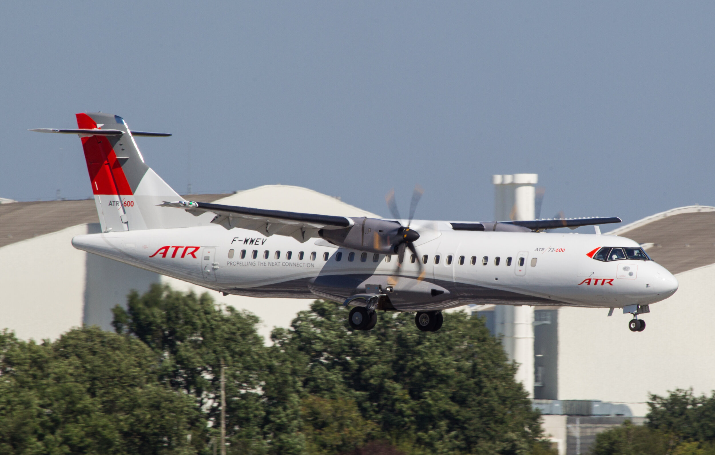 "ATR 72-600 ""Test Aircraft"" F-WWEV landing at Toulouse Blagnac on 20th September 2019.Photo: Debbie Riley."