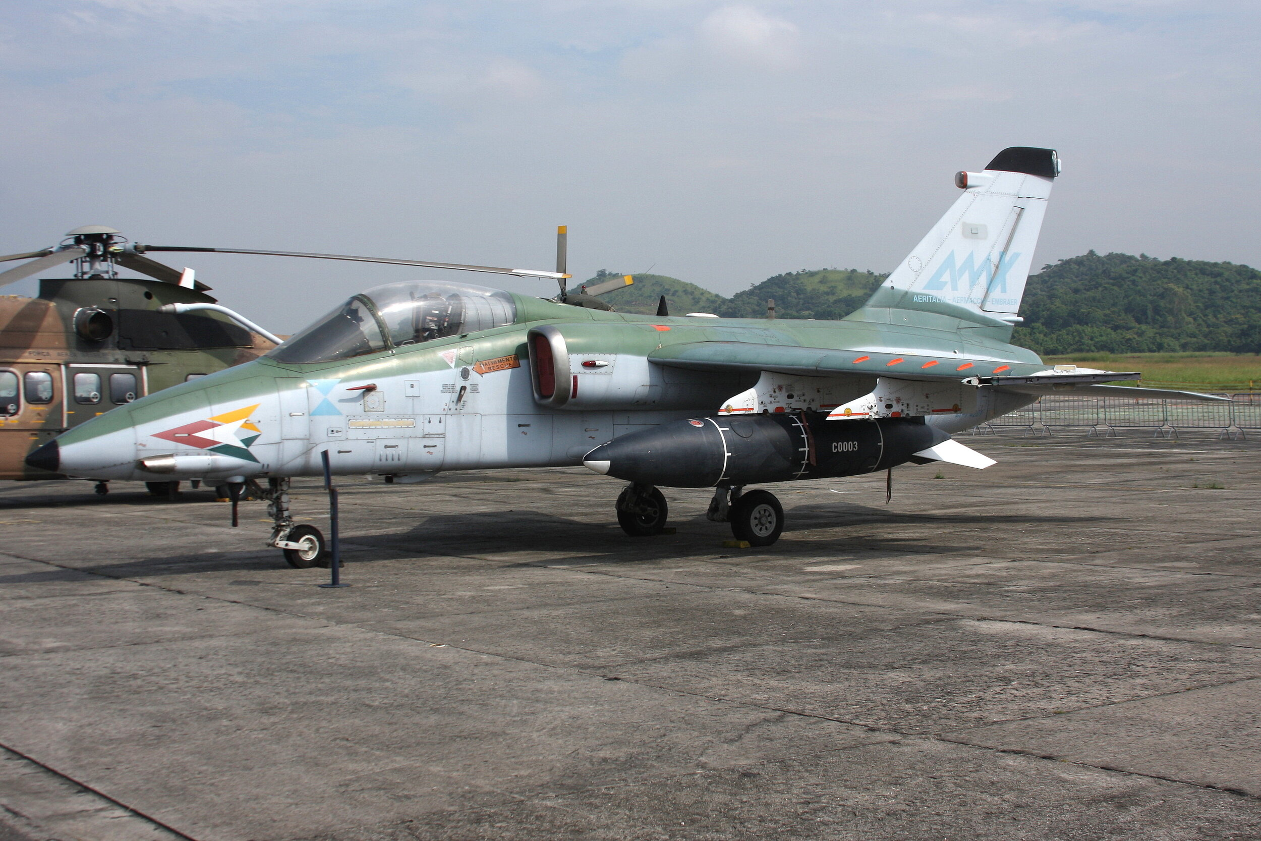 FAB4201 Brasil Air Force Alenia/Aermacchi/Embraer AMX on display at Museu Aeroespacial Rio De Janeiro taken 2nd May 2019 by John Wood