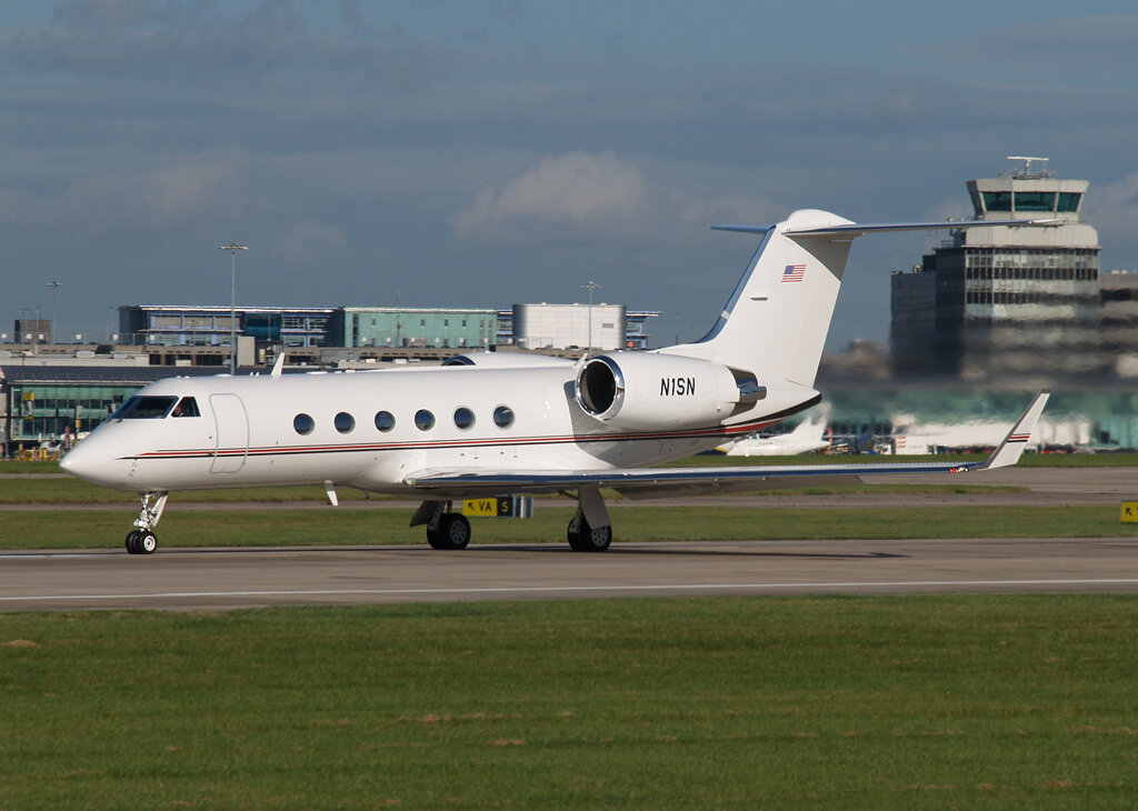 Gulfstream 4 N1SN was beautifully captured departing on Runway 23 Left by Stuart Prince on 17th October