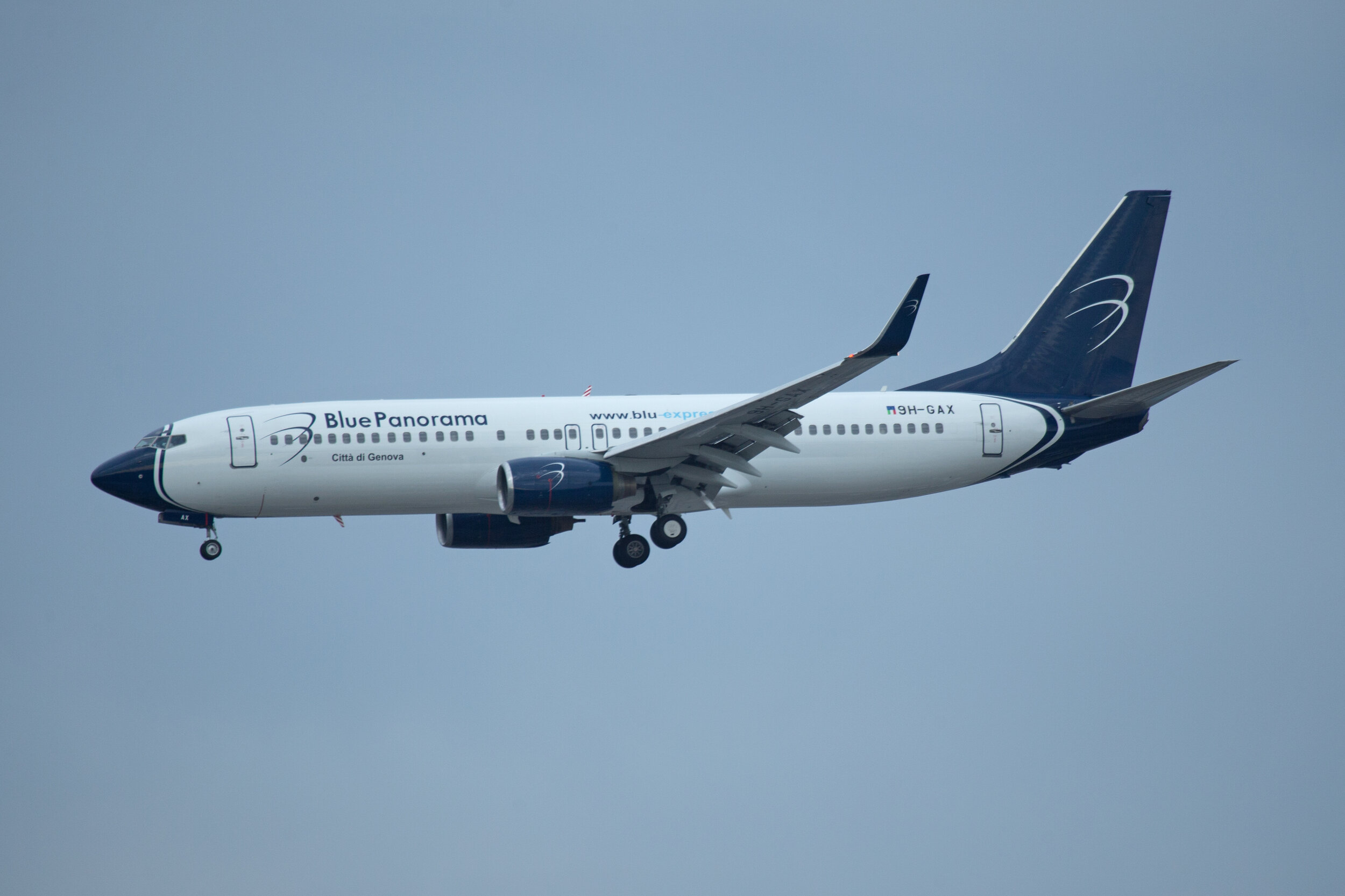 Blue Panorama B737-800 9H-GAX on short final to Runway 23 Right on 22nd October.Photo: Peter H