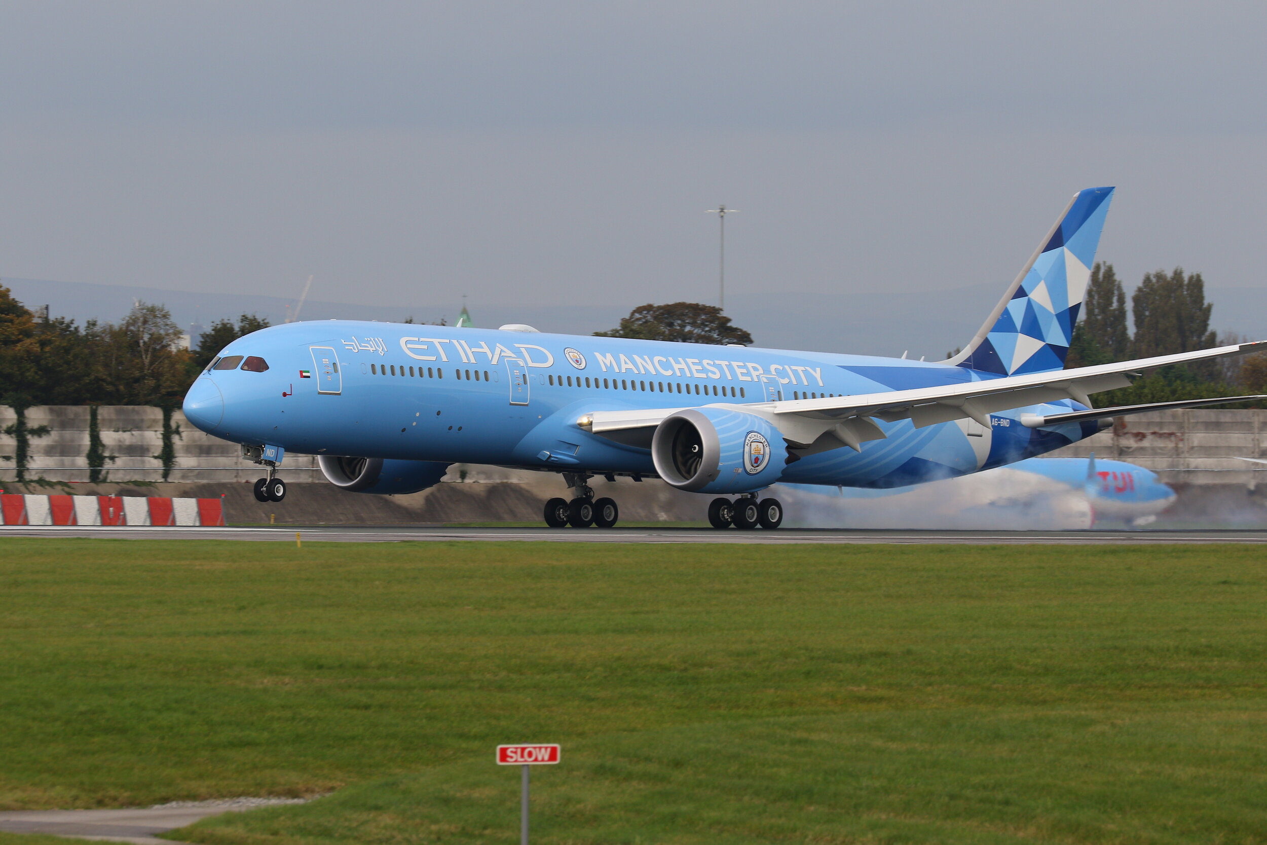 As expected (and quite correctly) the Etihad B787-9 A6-BND in its Man City livery is becoming a regular visitor to Manchester. She was nicely captured touching down on Runway 23 Right on 22nd October. Photo: Maurice Kime.