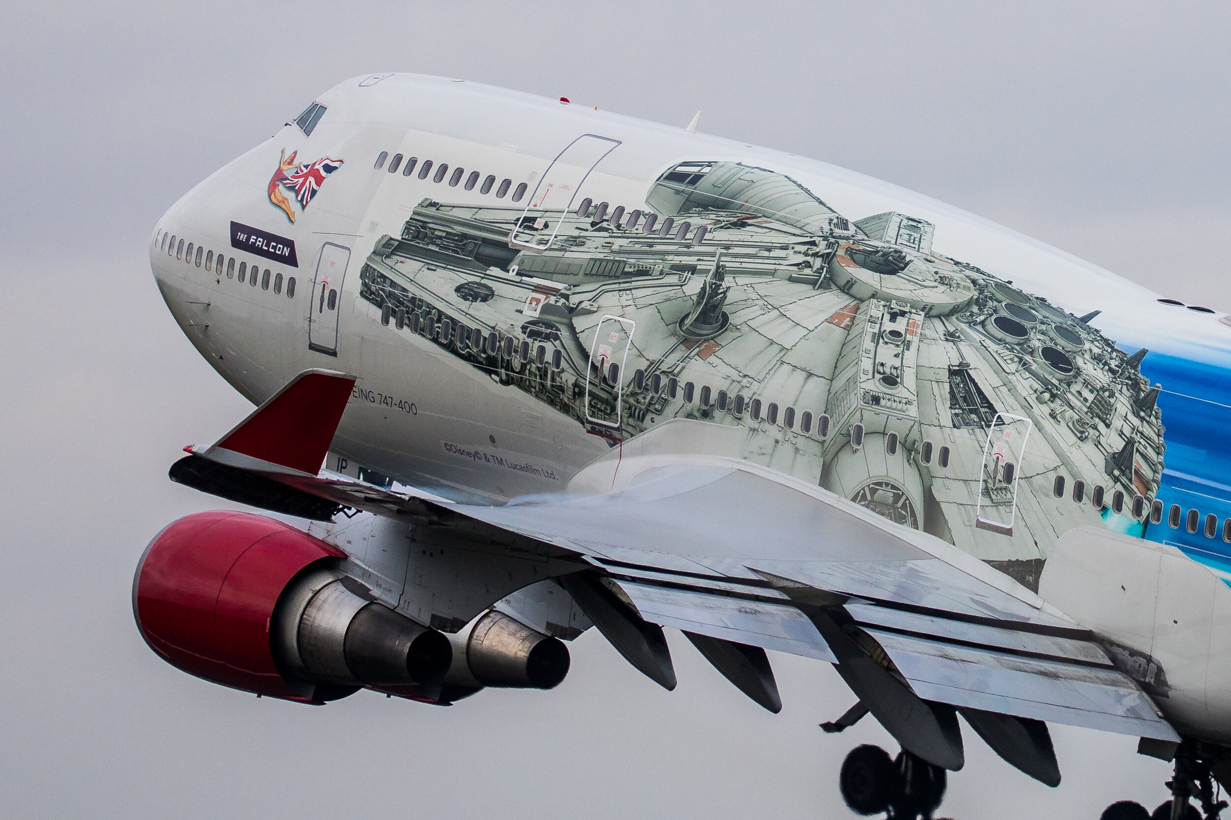 "Mike Grundy got up close and personal this morning (24th October) with Virgin Atlantic's B747-400 G-VLIP ""The Falcon"""