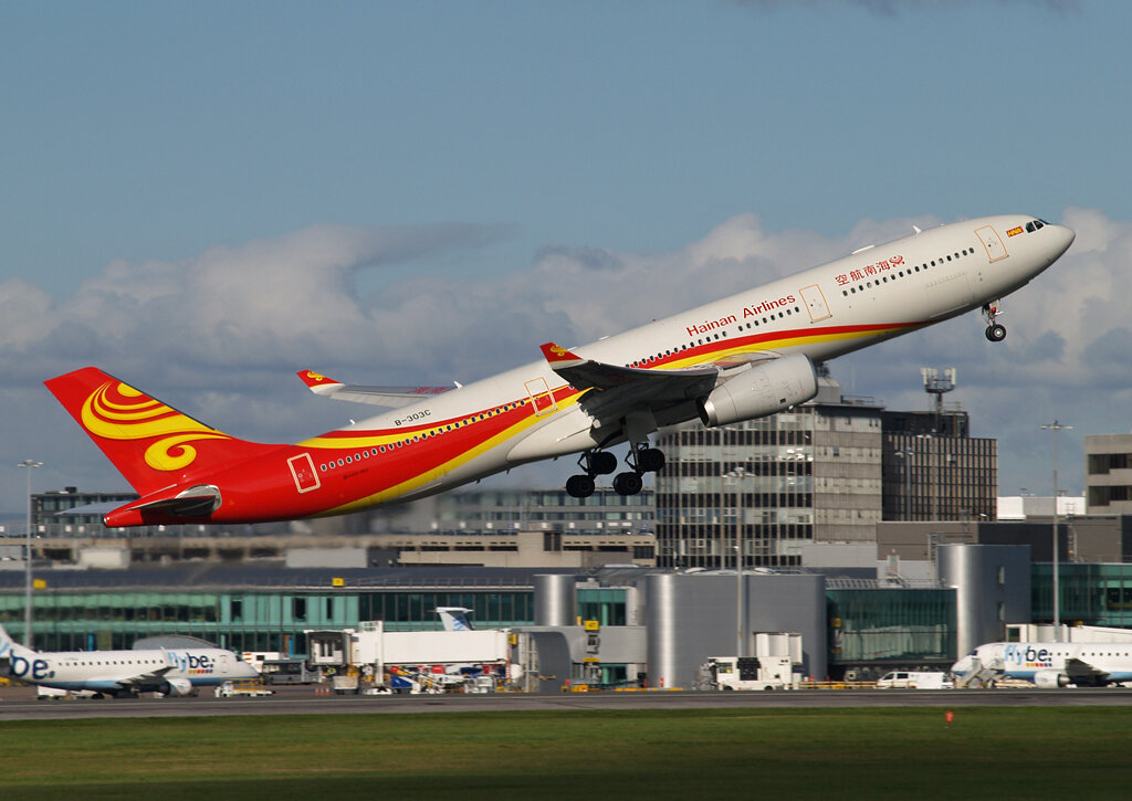 Hainan A330-300 B-303C takes flight from Runway 05 Left en route from Manchester to Beijing on 29th October. Photo:Stuart Prince.