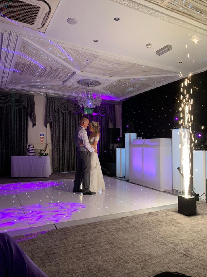 The first dance made extra special with amazing indoor fireworks on a light up dance floor and specially selected lighting theme to showcase the bride and groom.