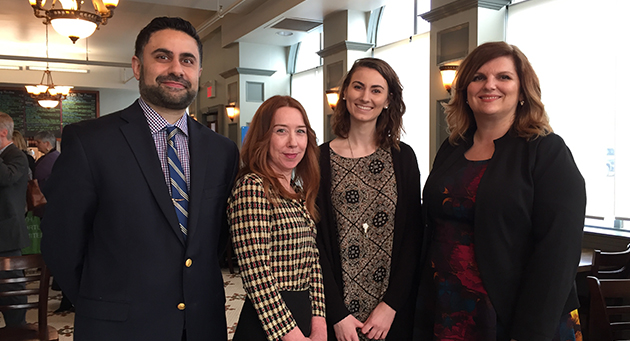 Dr. Javeed Sukhera, Physician Lead, Child and Adolescent Mental Health; Jill Lynch, Project Facilitator, Transition Age Project; Scarlett Davidson, LHSC Youth Mental Health Advisory Council member; and Julie Trpkovski, Vice President, Mental Health and Emergency Services. (Source: LHSC)
