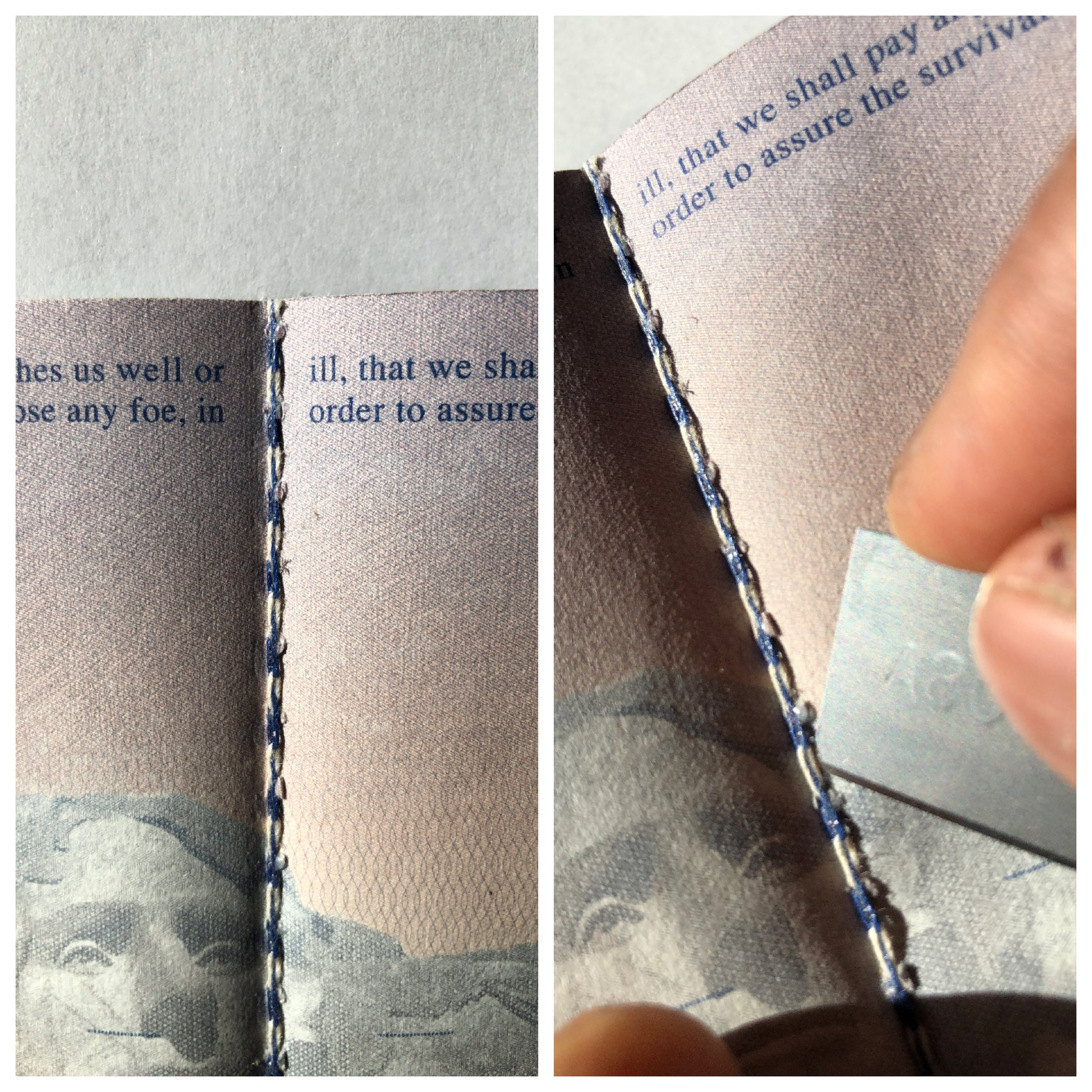 Step 1   -Take decommissioned passport and find seam (towards center)  - Use razor edge to cut thread holding pages in passport. Remove thread.  - If pages are still attached take razor edge and cut along inside edge of page where thread was removed.(it's ok if it is not completely straight).