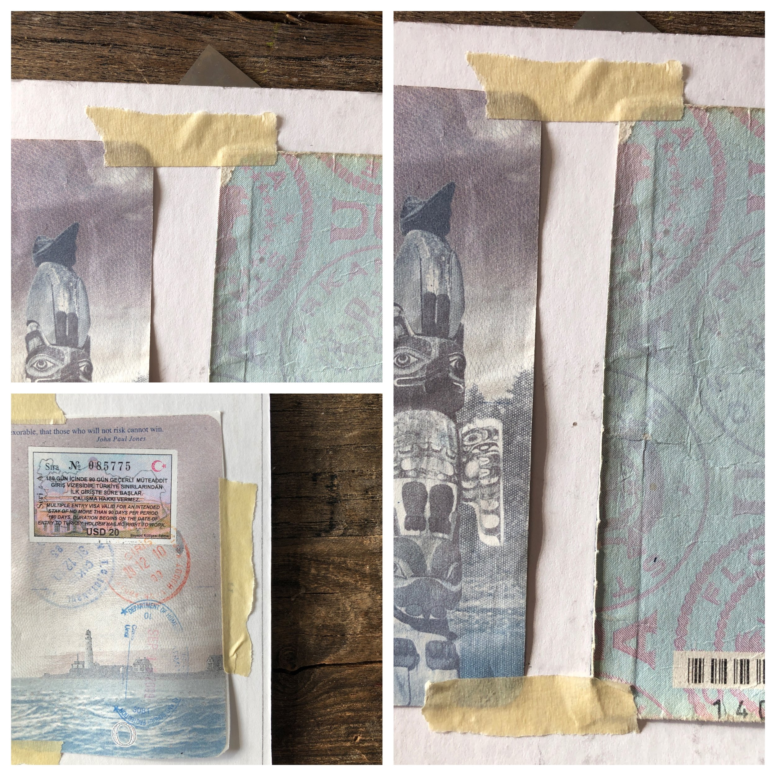"""Step 4   - Photo corners can be used to mount pages to mat board for a cleaner look. Masking tape is also sufficient and a bit cheaper. If using photo corners, follow instructions on box to mount pages to board. Here we will be using tape to adhere pages to mat board.  - For tape use, tear off piece appx 1"""" long and tear this piece down the middle making two thinner strips. Take one piece and place along the very outside edge of page securing it to the board. Keep in mind tape may be visible once other board goes on. So every now and then take the second mat board and place it on top of pages to see if tape needs adjusting so that it is not visible.  -Follow these instructions until all pages are adhered to board. (this may look a bit messy at this point, but none of this will be visible)"""