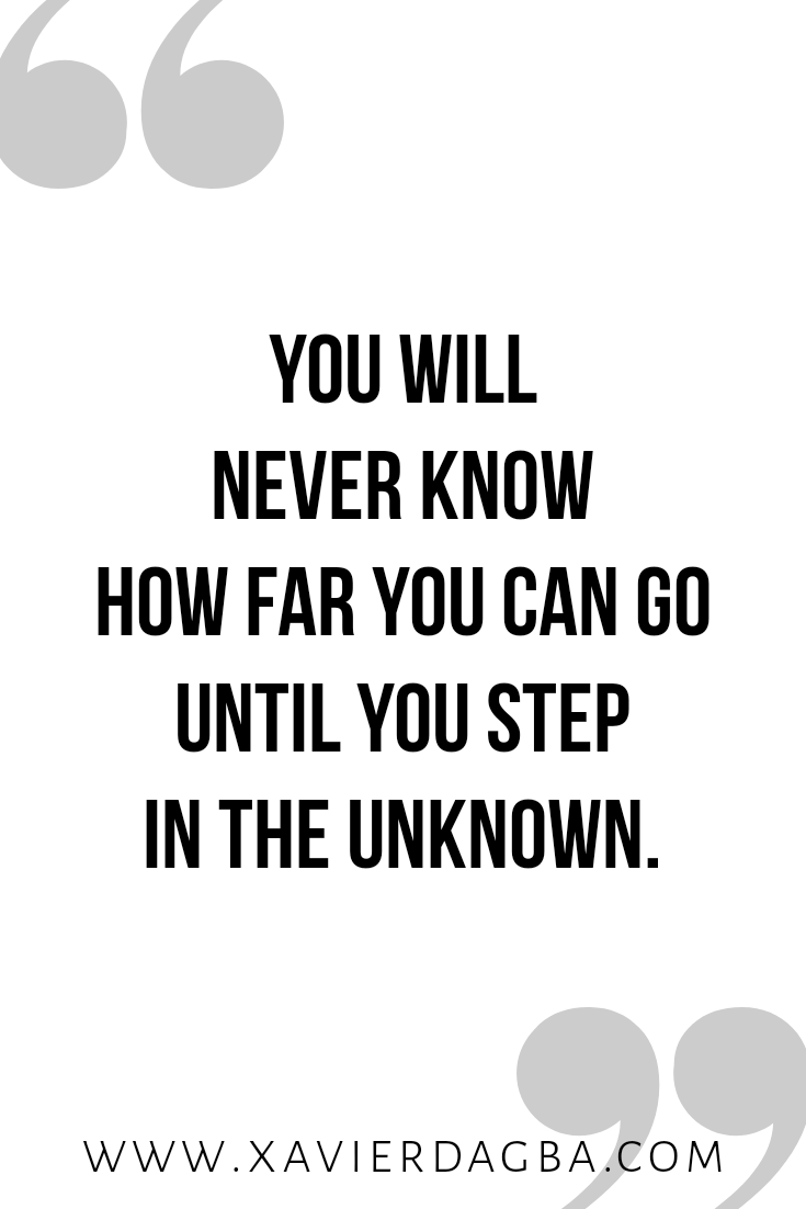 Step in the unknown | motivational & inspirational quote