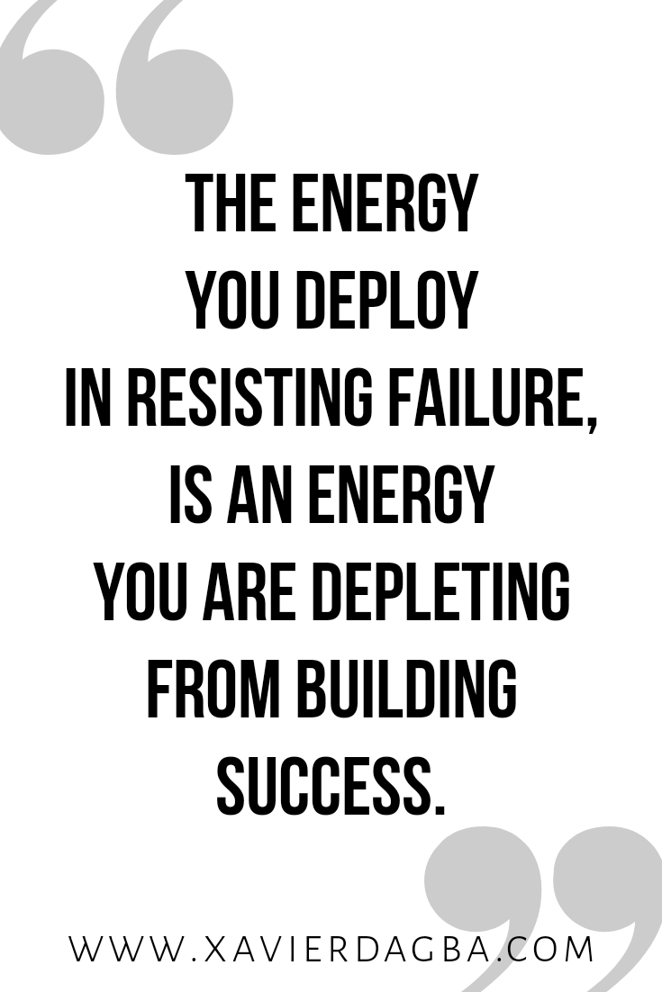 The energy you deploy in resisting failure, is an energy you are depleting from building success. Keep reading to find out how making peace with failure can liberate you to acheive more success. #quote #inspiration #motivation #mindset #success #successmindset #lawofattraction #blog #thriveblog