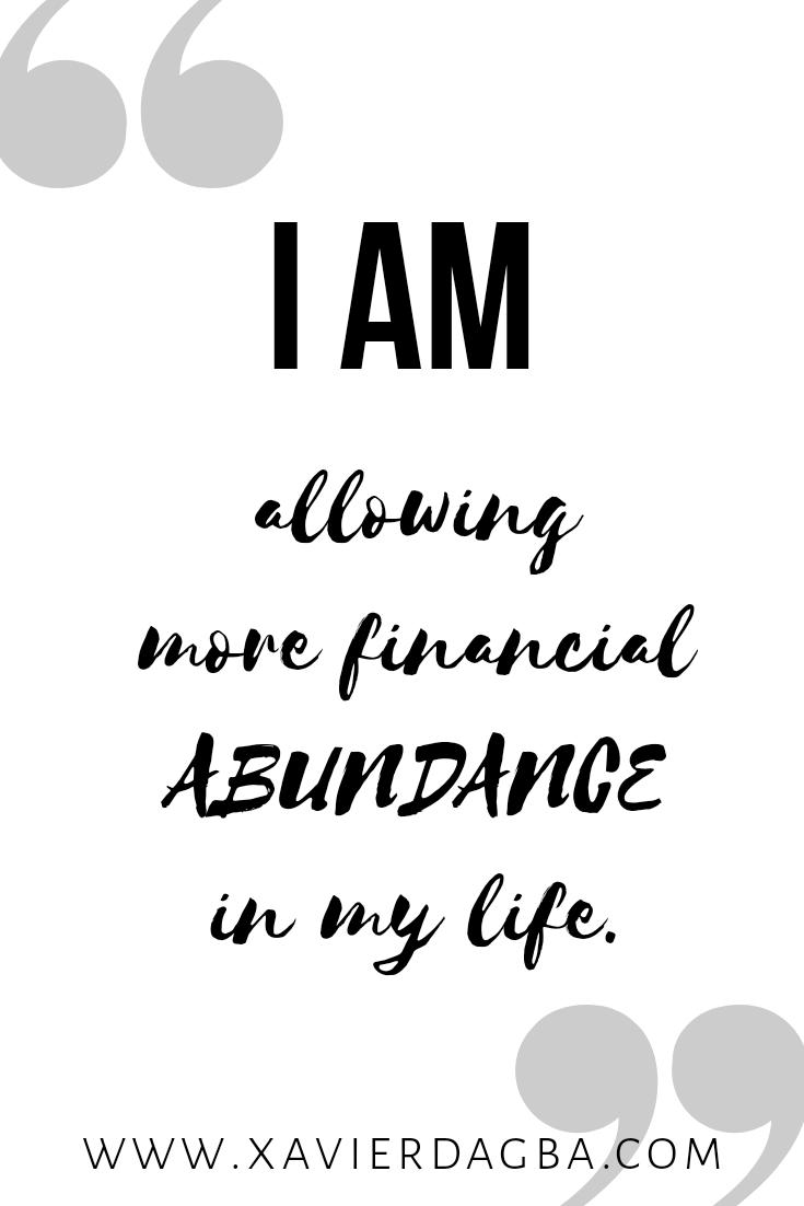 Financial abundance affirmation