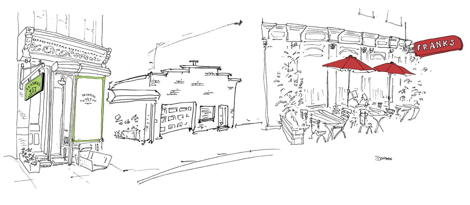 Frankes Wine Bar Storefront Pen Illustration