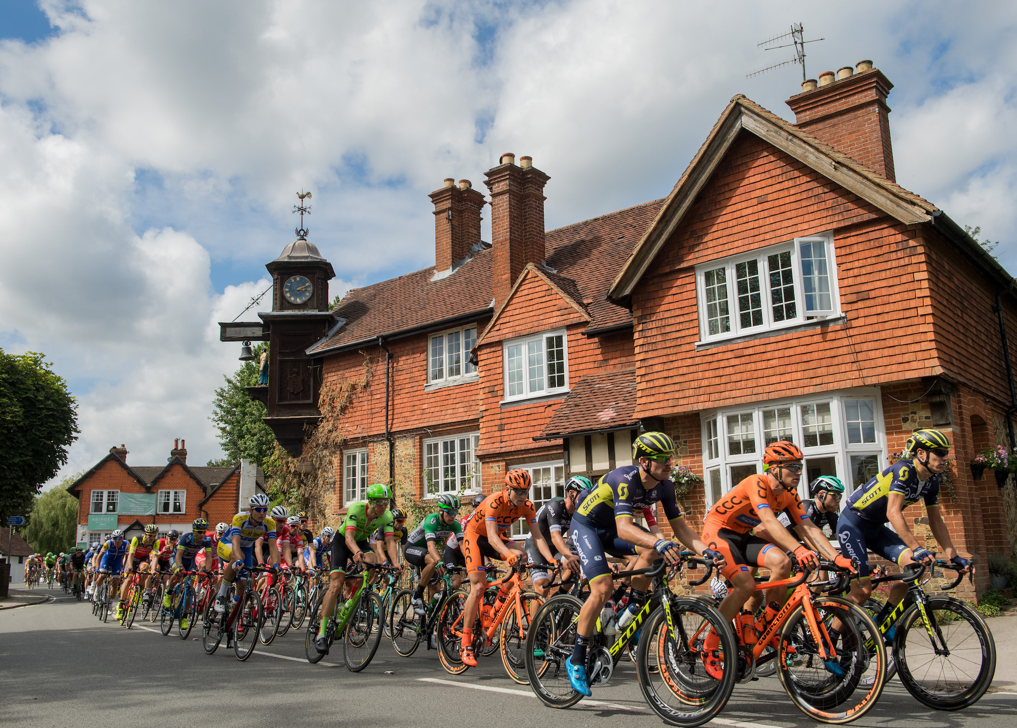 Prudential RideLondon-Surrey Classic, passing through the picturesque Surrey village of Abinger Hammer in 2018.