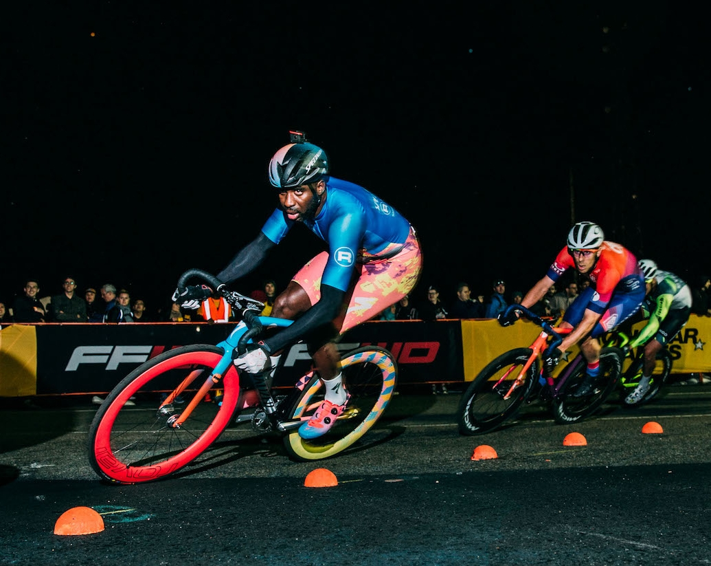 Justin Williams (Team Specialized-Rocket Espresso) negotiating the technical hairpin on turn 4 of the Brooklyn No.11 Circuit in April 2018.  Photo by  Tornanti.cc