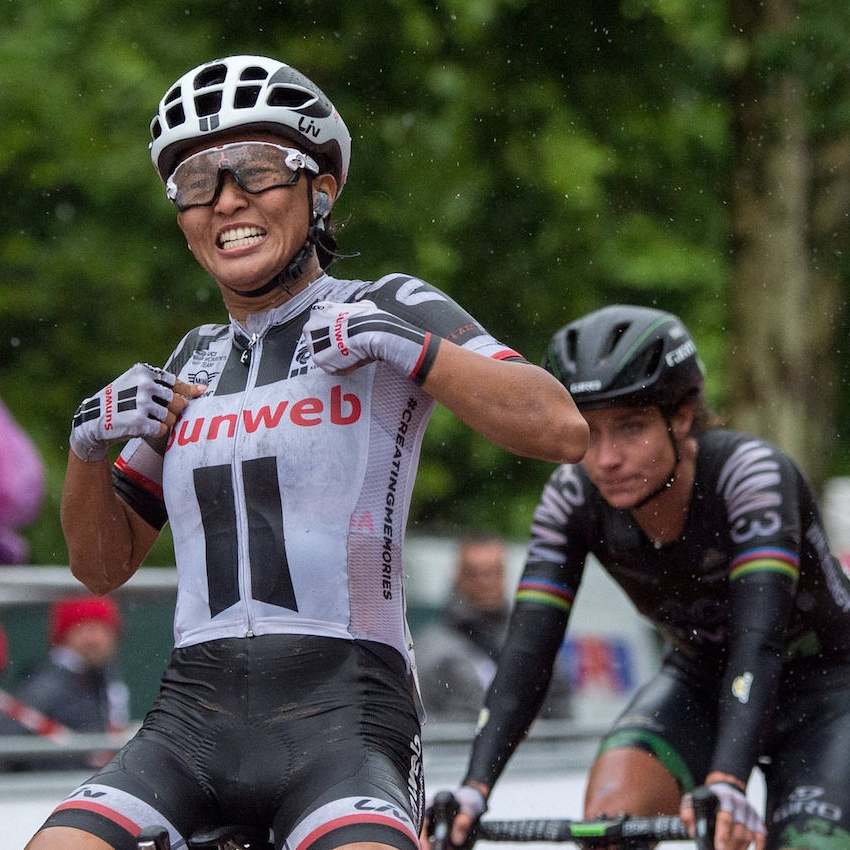 Coryn Rivera (Team Sunweb) winning the 2017 Prudential RideLondon Classique on The Mall.