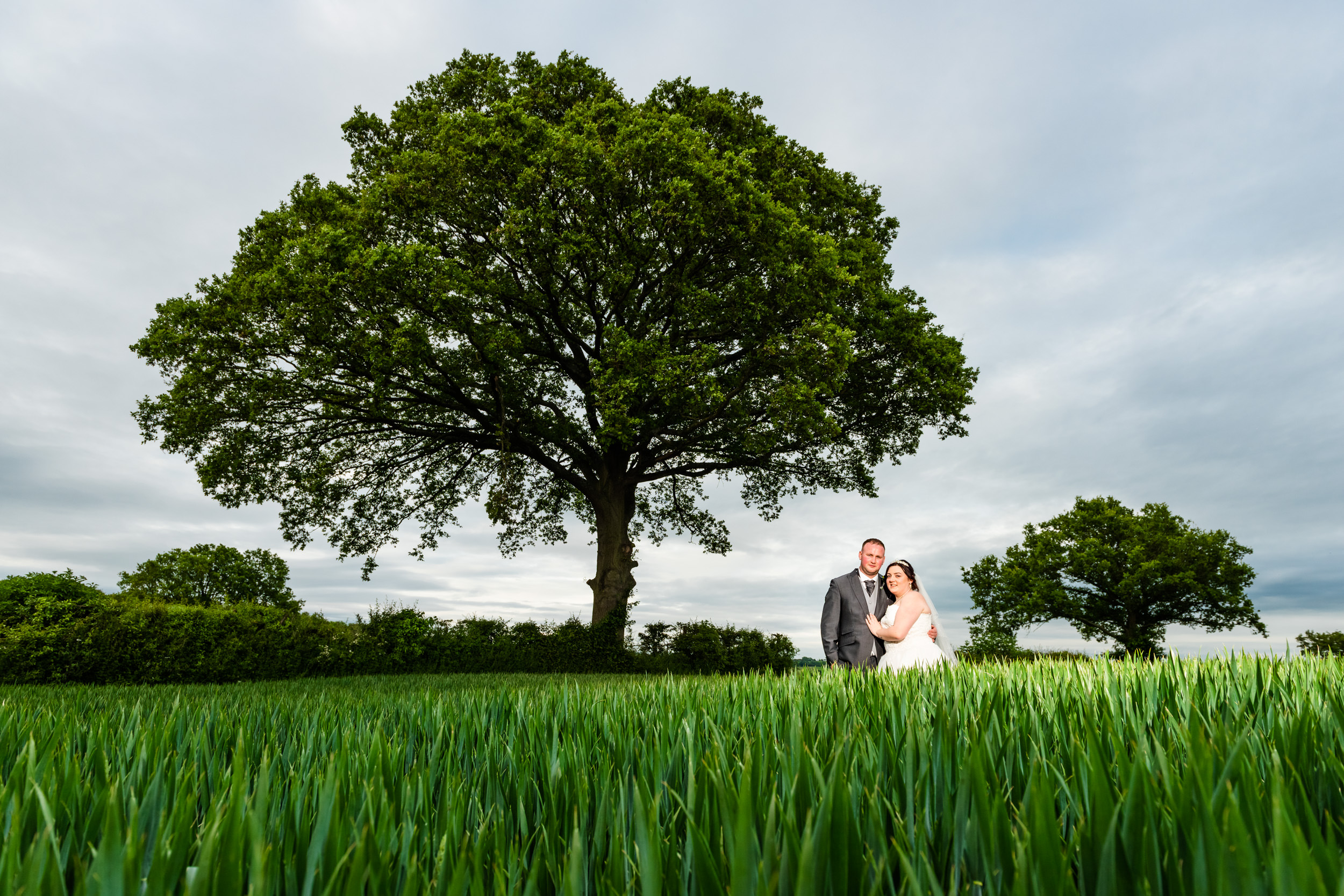 Bride and Groom posing for their Wedding photography in the green fields behind Manor Hill House