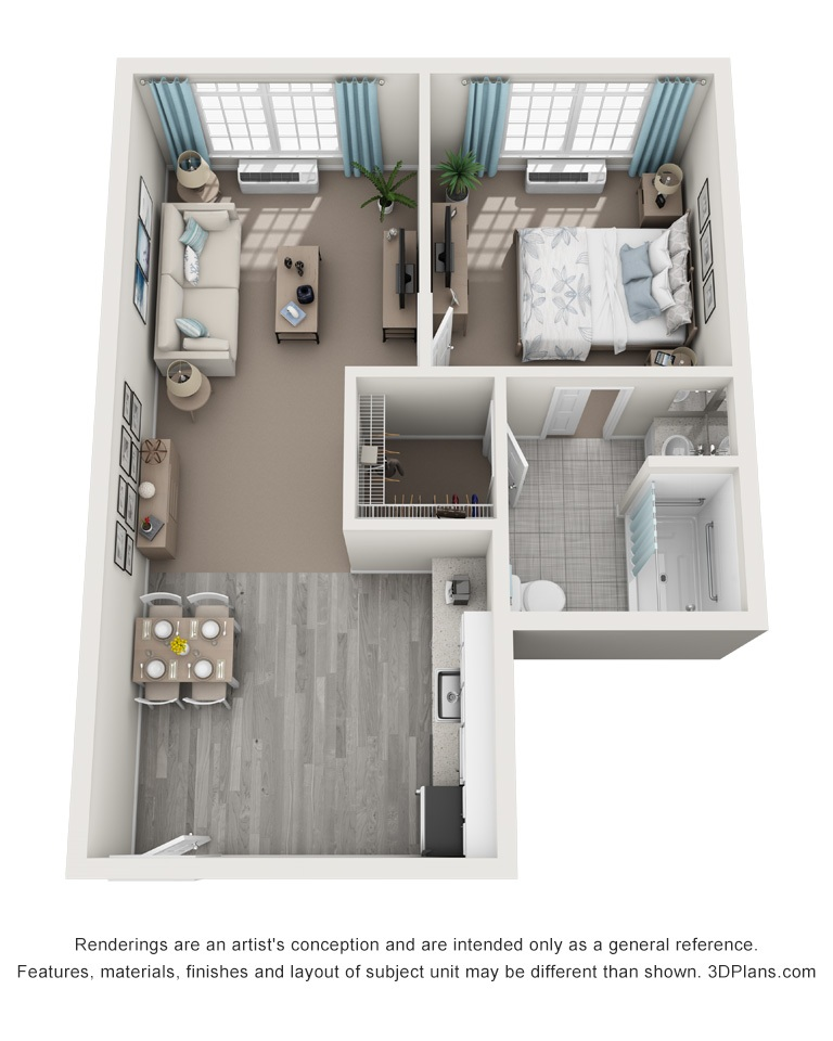 The Springs_Floorplans_one bedroom 582 sqft