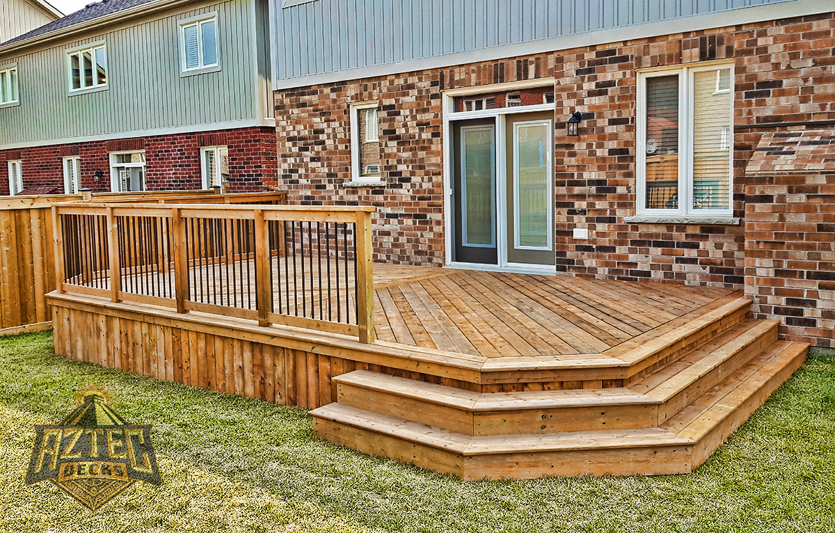 Bowmanville deck wraparound stairs deckorators railing pressure treated deck