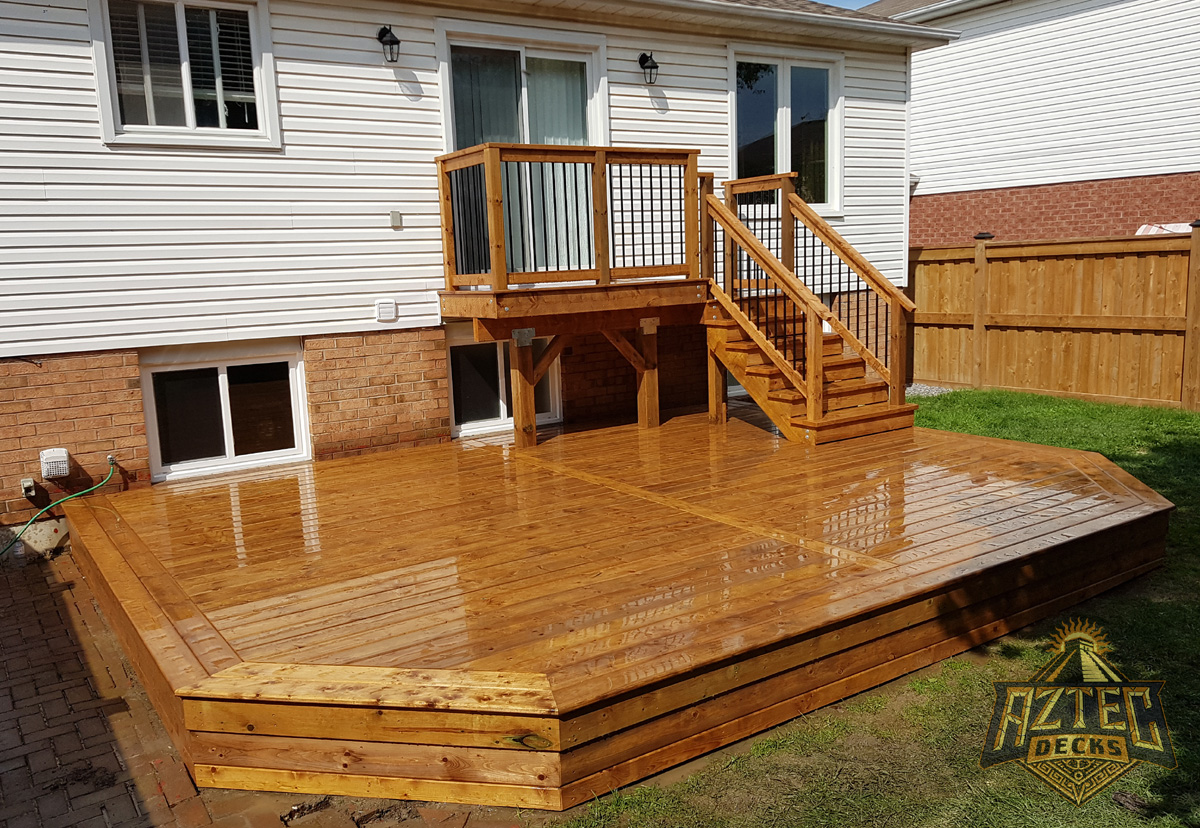 Bowmanville multilevel pressure treated deck