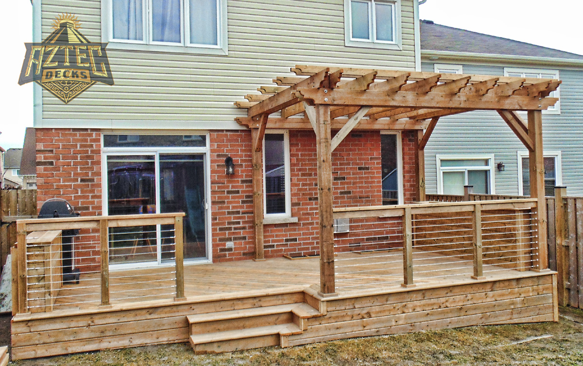 Courtice deck with pergola raileasy cable railings