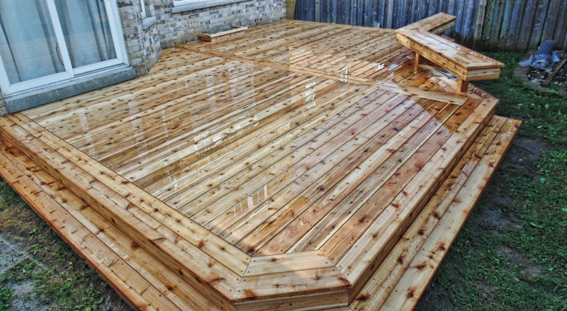Cedar Decks - Priced in between pressure treated and composite, cedar is a beautiful wood for decks. A softer wood, it is naturally rot and insect resistant and more structurally stable than pressure treated.  Also requires high maintenance to keep looking nice.