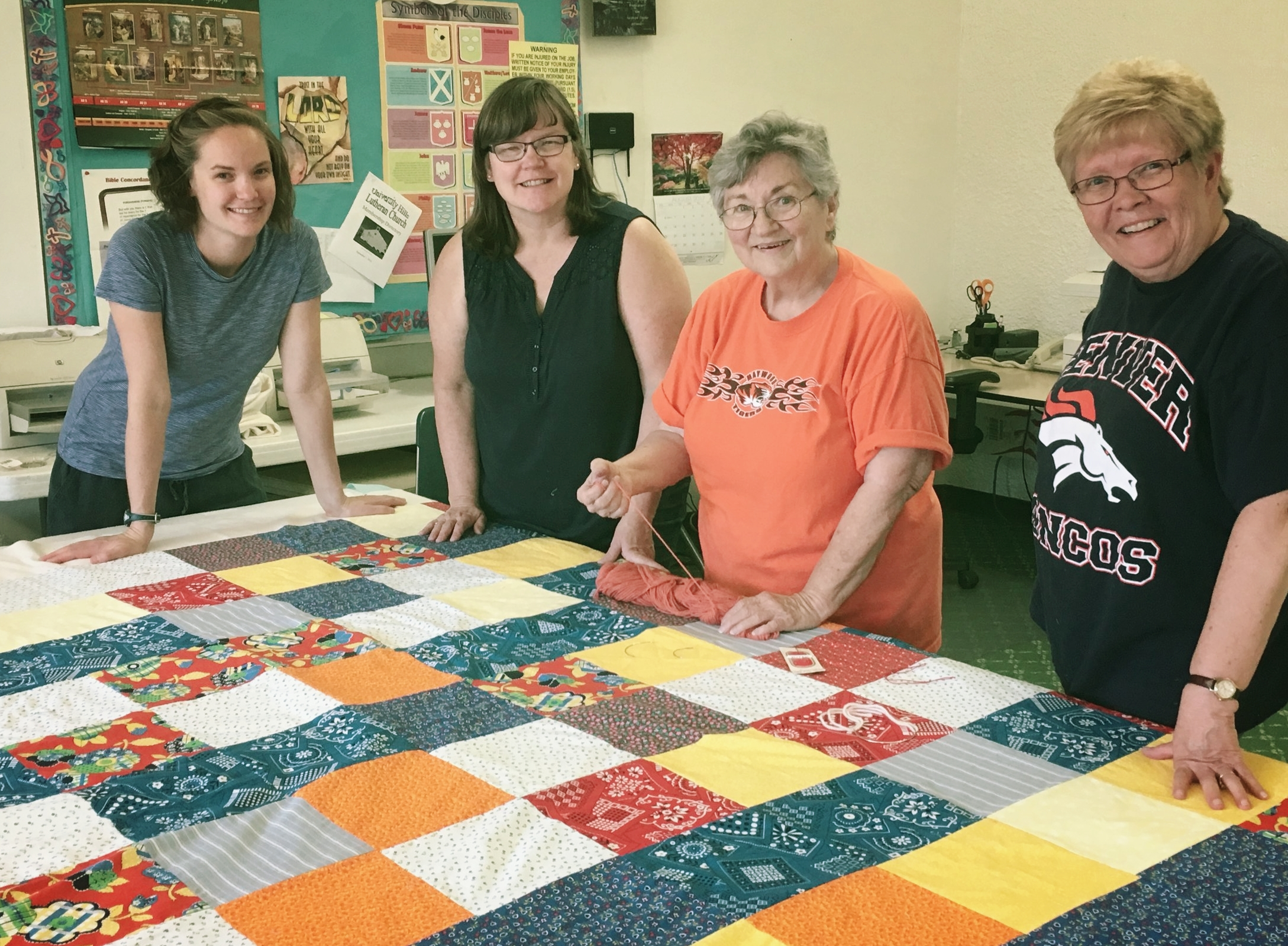 Ladies from our Quilt Group working on a project.
