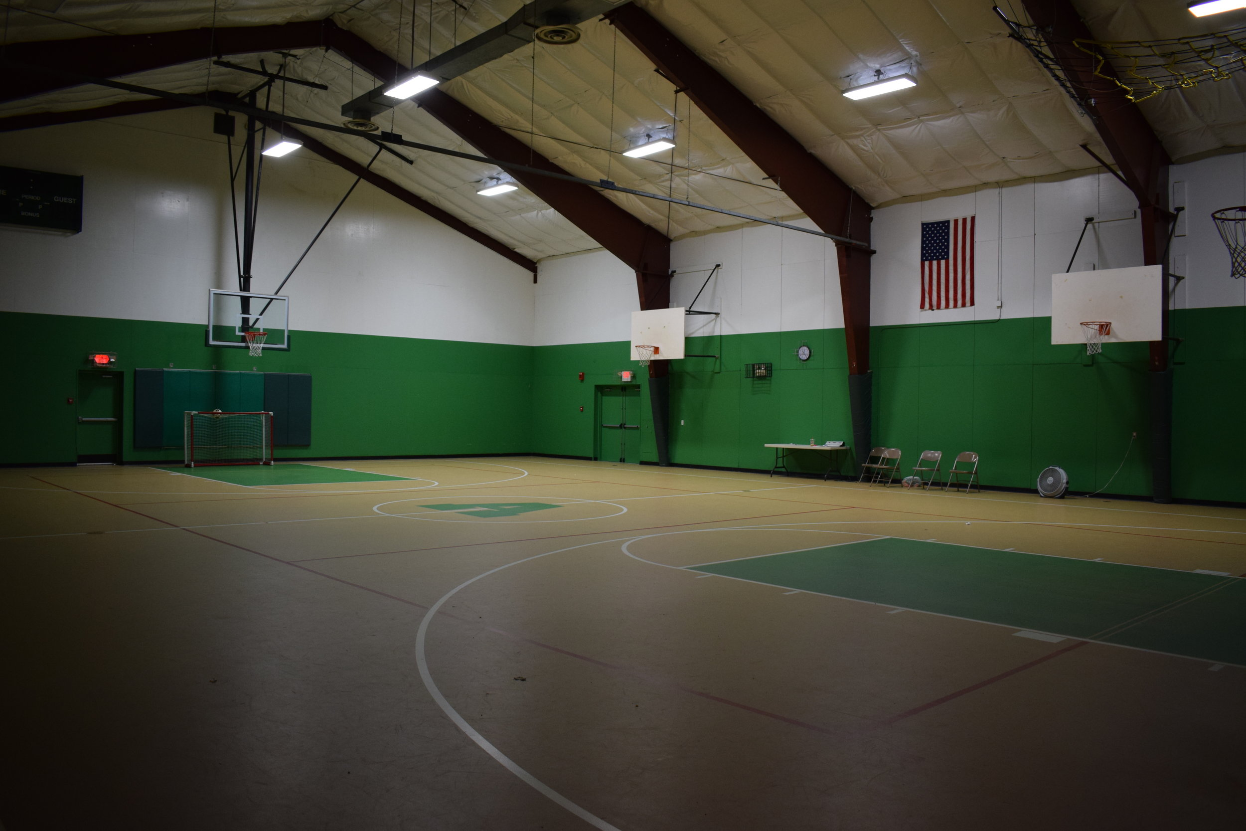 Inside the Harlan K. Simonds Jr. Gymnasium.