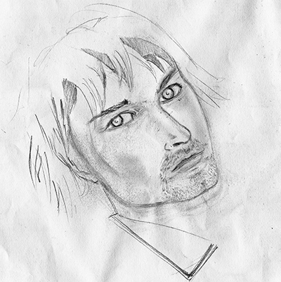 Ryan's sketch of Kurt Cobain is also his self-portrait.