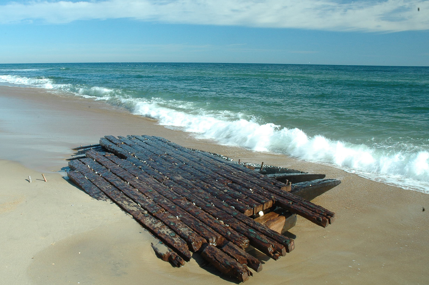 Taken after a nor'easter uncovered a long-buried shipwreck on the Outer Banks.