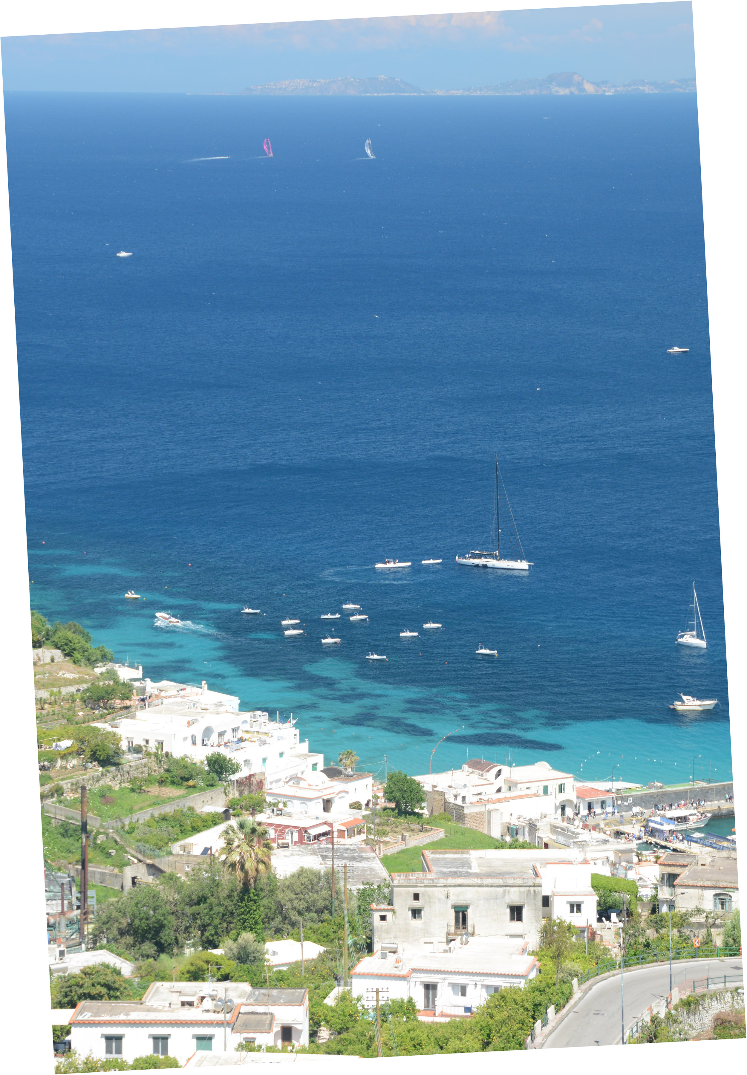 The harbor at Capri and the Bay of Naples beyond