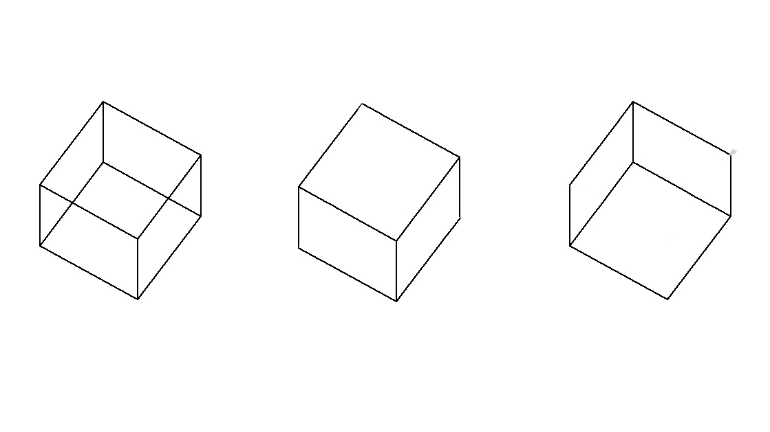 Wireframe box, 3D box viewed from above & 3D box viewed from below