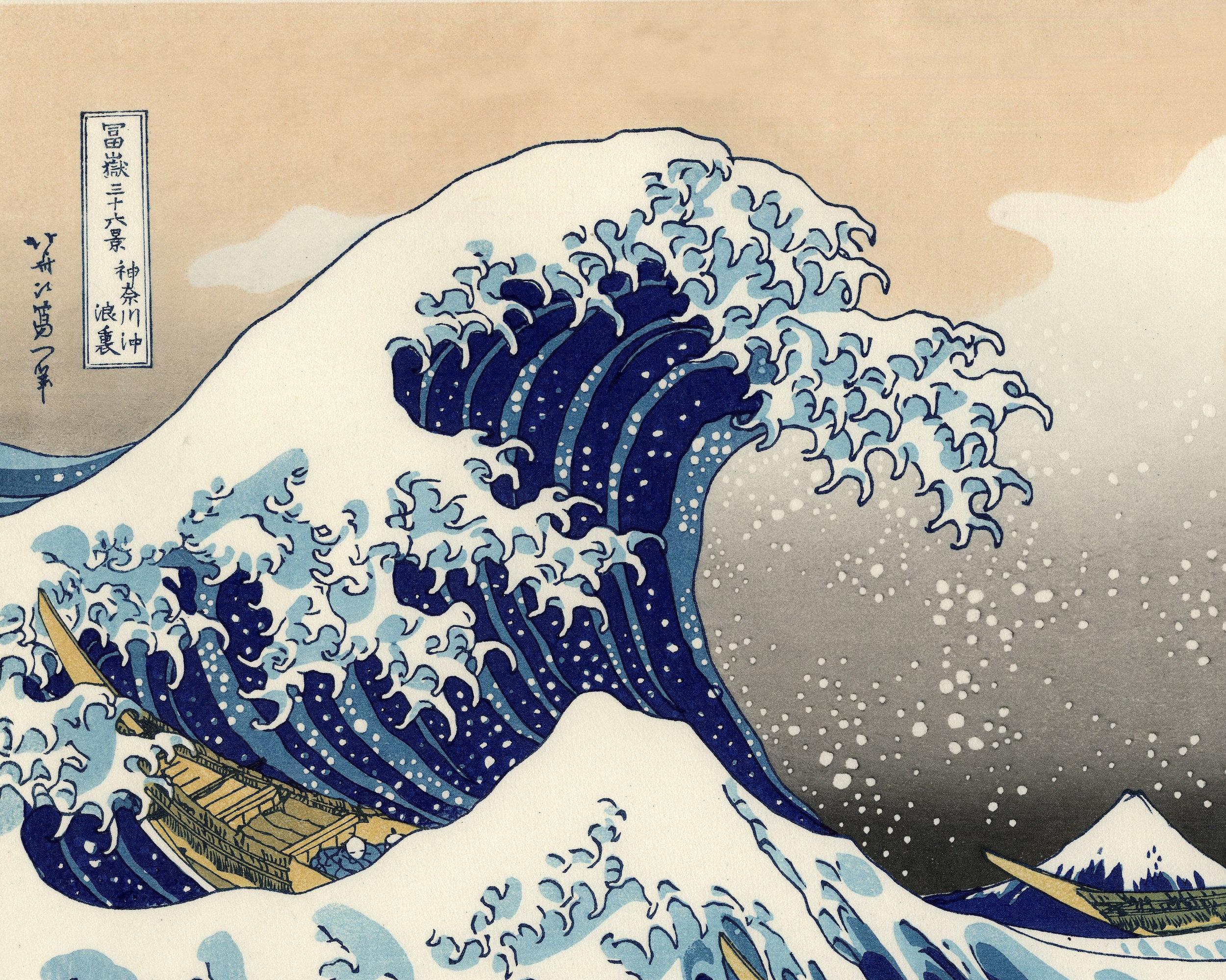 The Great Wave off Kanagawa , woodcut by  Katsushika Hokusai , ca. 1829–1833