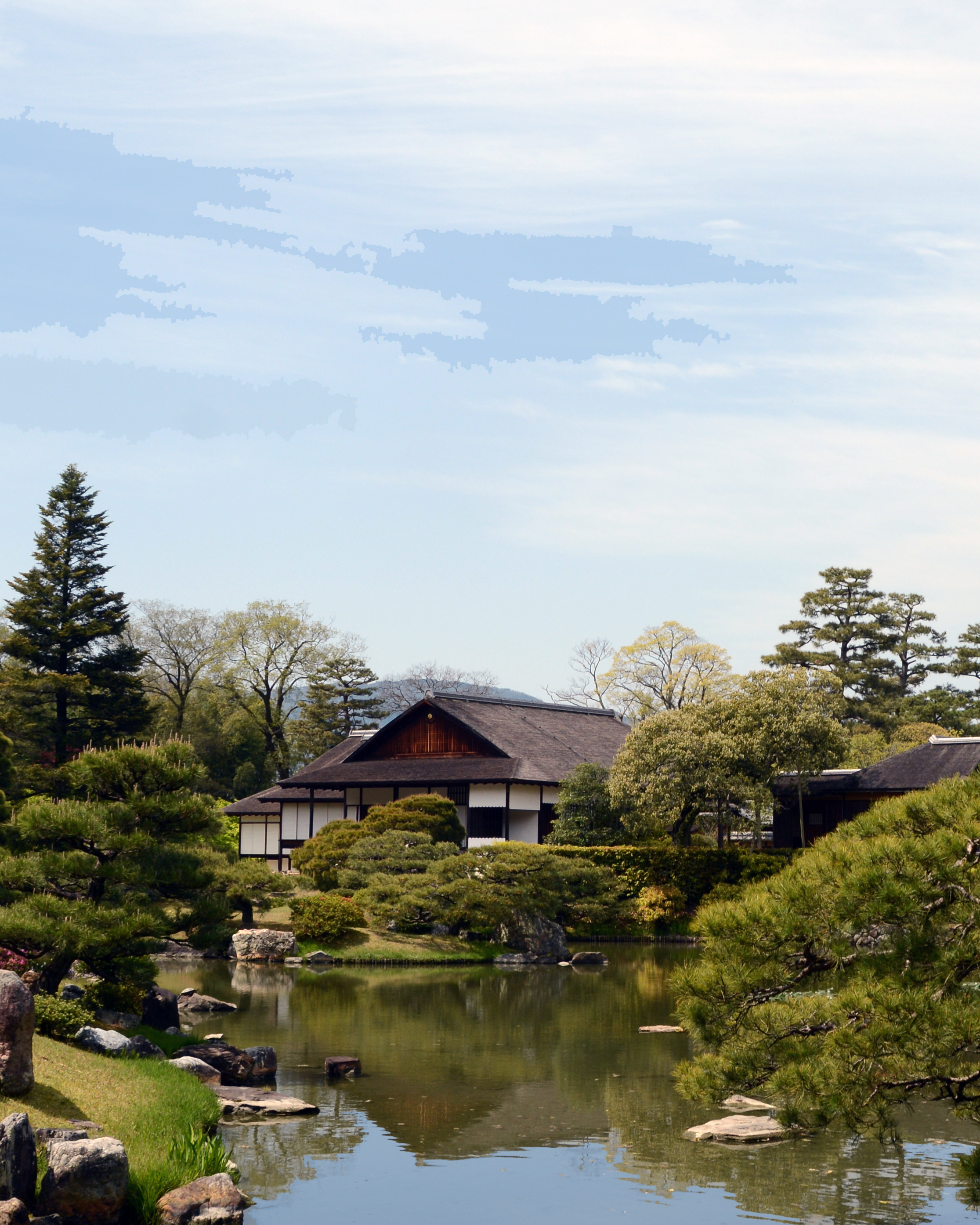 Katsura Villa's Old Shoin is the first and most prominent form, seen from across the pond.