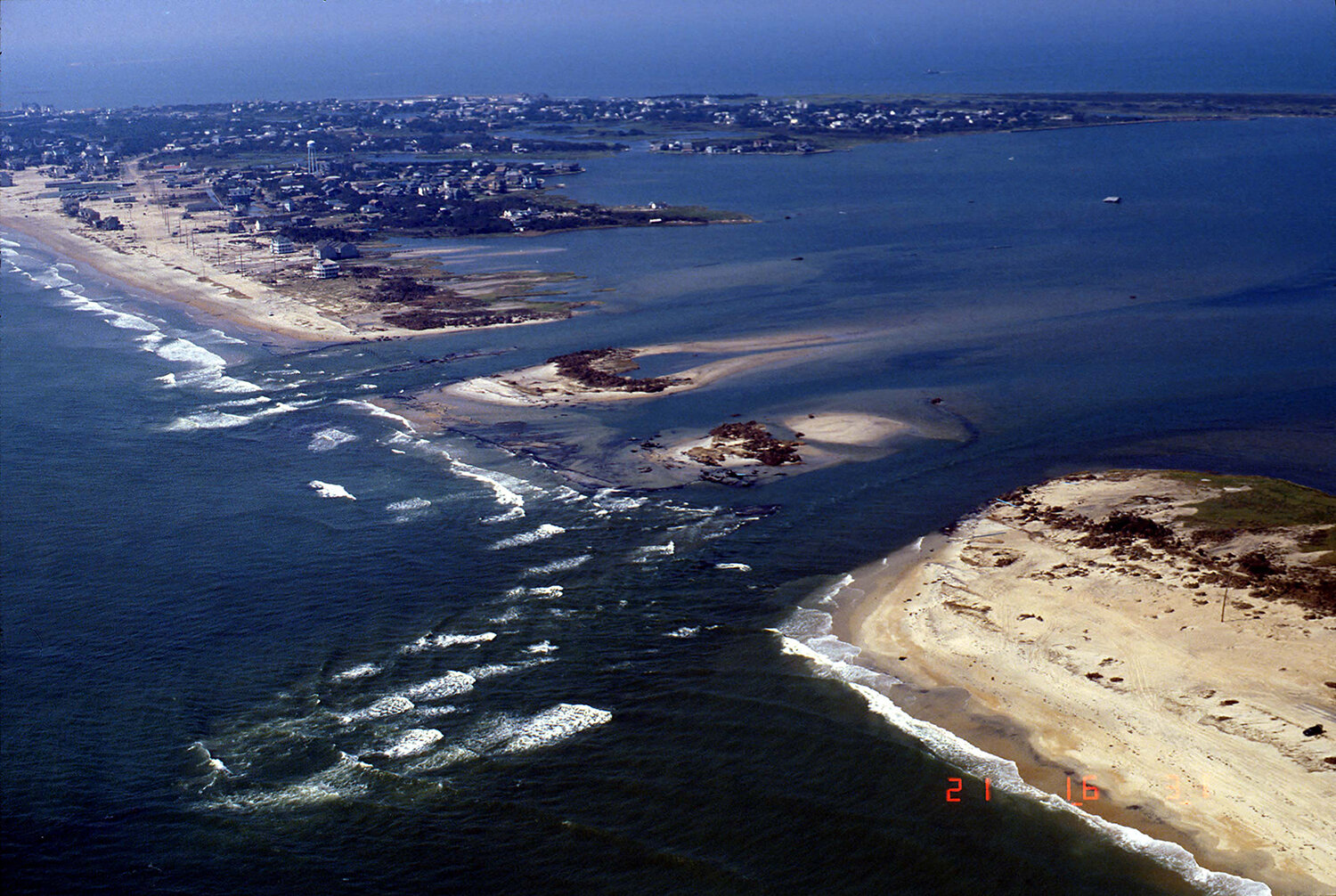 Hatteras Island after Hurricane Isabel in 2003 (USGS photo) Route 12 is nowhere to be seen.