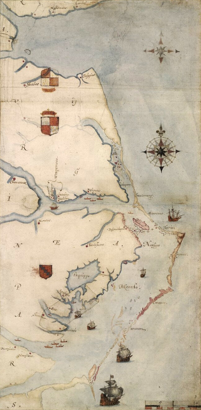 1584 map by  John White  showing Core Banks.
