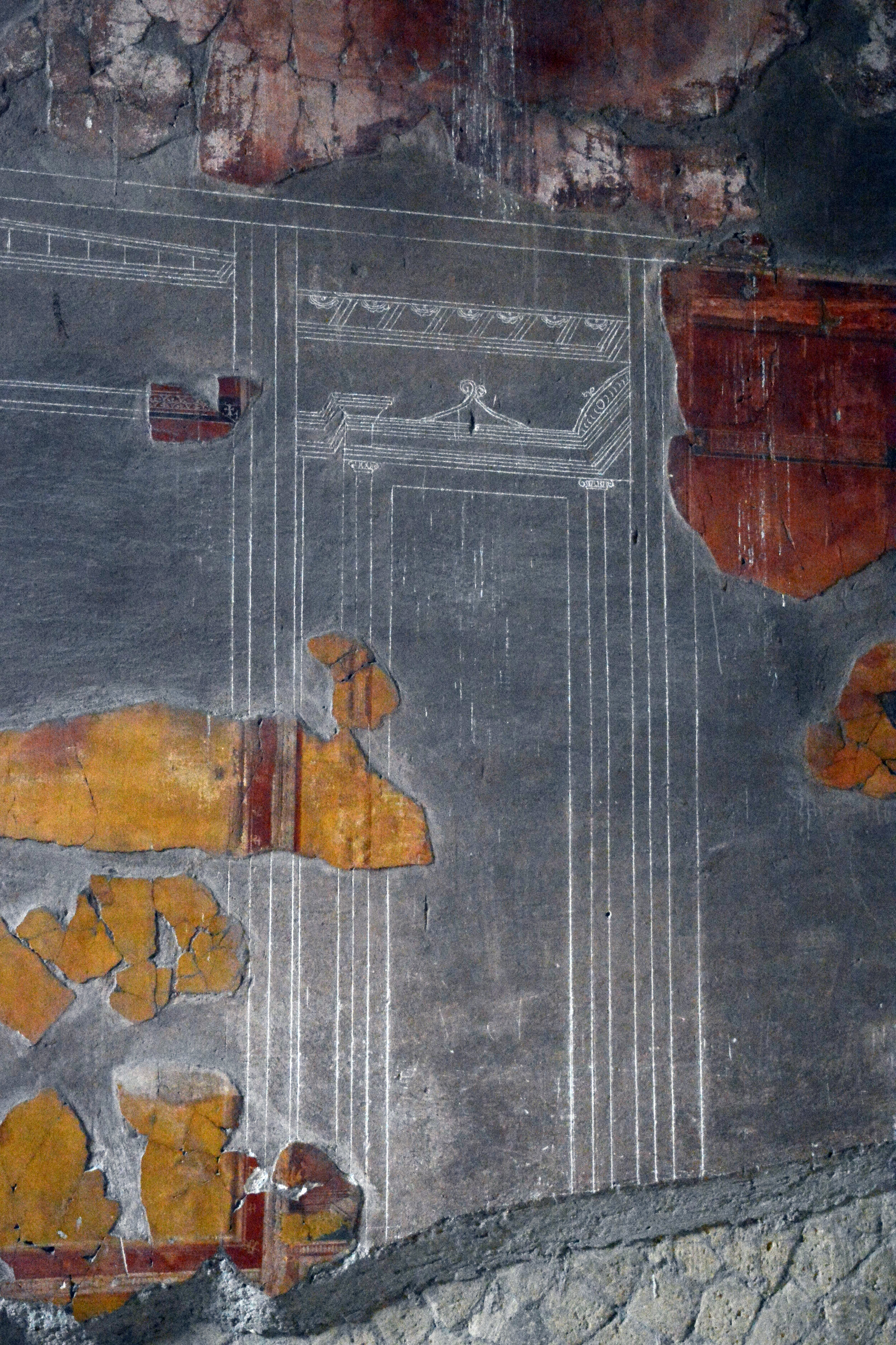 Fresco remnant with underlying sketch