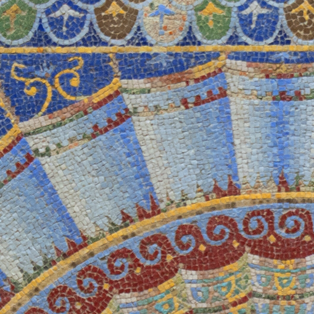 """Detail of mosaic tiles from """"Neptune and Amphitrite"""" above"""