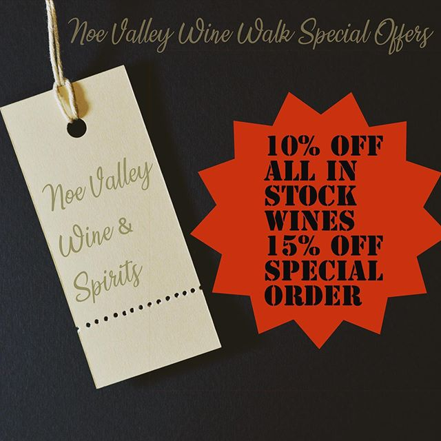 Check out all of these great deals & discounts for the #noevalleywinewalk ! Visit Noevalleywinewalk.com to view all participating stores and the variety of wines we will be having. 😁🍷 #winetasting #winestagram #noevalley #sanfrancisco