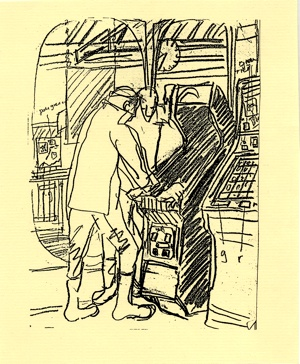 Young Men at Fruit Machines (pencil drawing) ©irenejuliawise