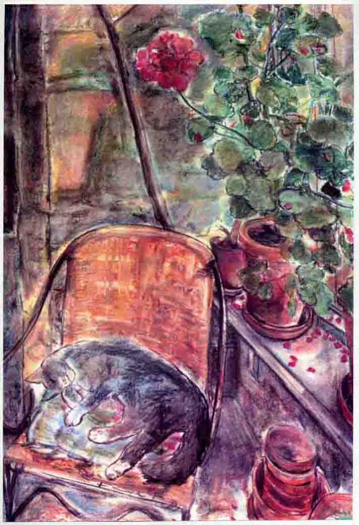 Conservatory Cat with Geraniums  (pastels) ©irenejuliawise