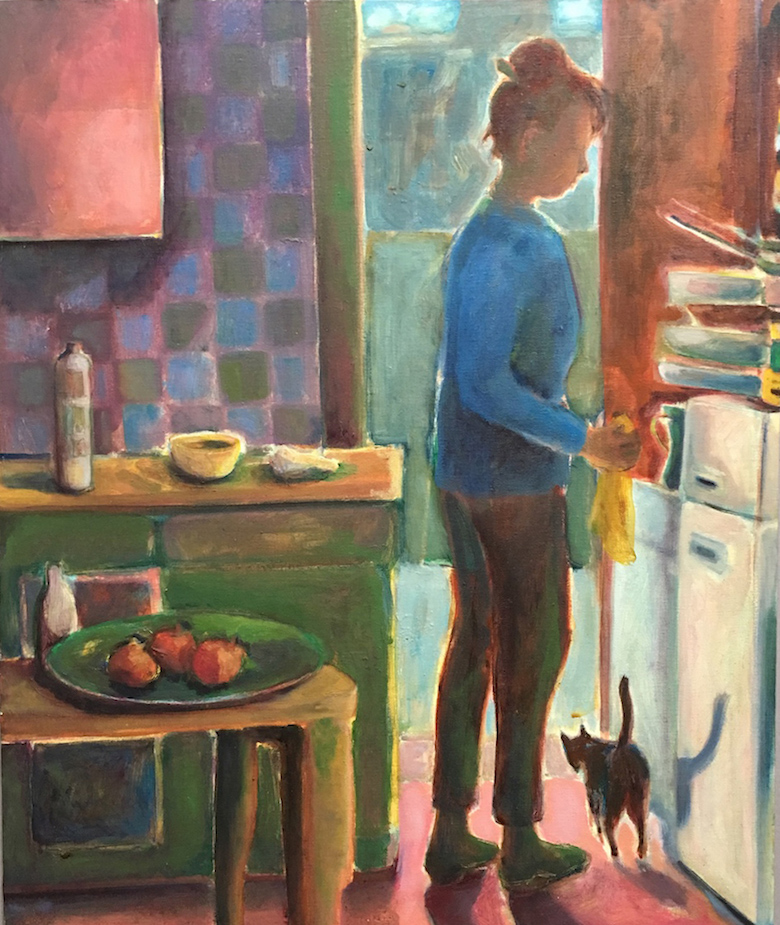 Roxy in the Kitchen with Cat (oil painting) ©irenejuliawise
