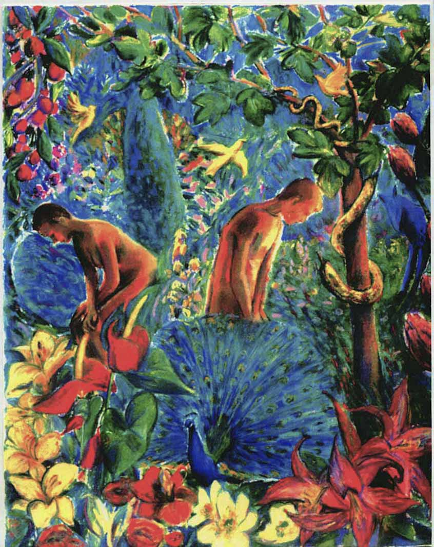Adam and Eve, Garden of Eden (pastels) ©irenejuliawise