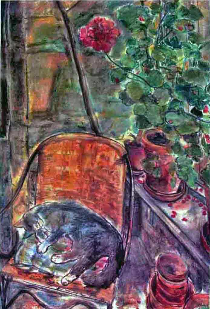 Conservatory Cat wirh Geraniums (pastels) ©irenejuliawise