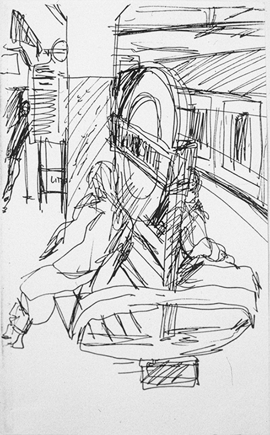 Waiting at Hammersmith Station (ink) ©irenejuliawise